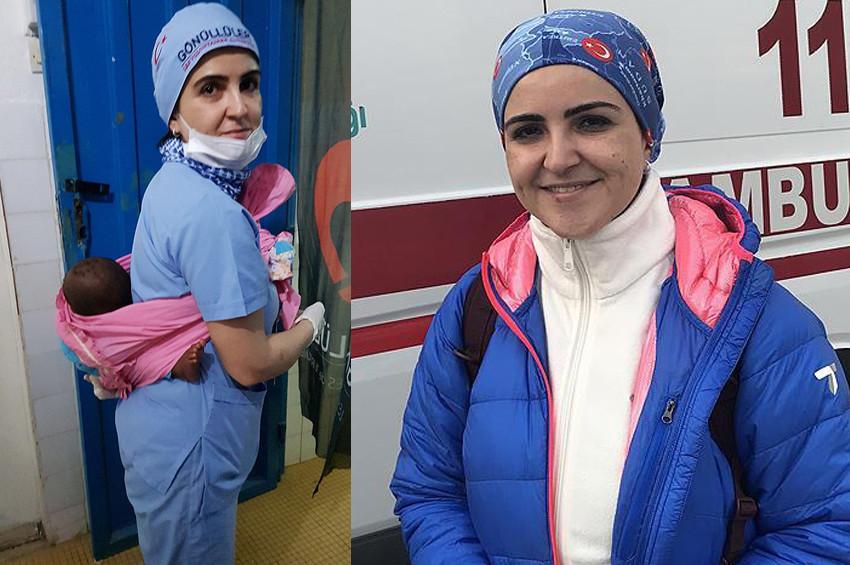 Sırtında bebekle ameliyata girdi
