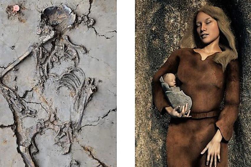 6 bin yıllık anne kolunda bebeğiyle gömülmüş