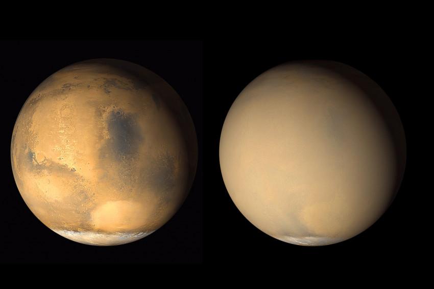 Marsın toz fırtınasından önceki ve sonraki hali