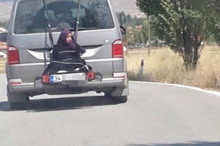 Minibüse bağlanarak taşınan kadın yuh artık dedirtti