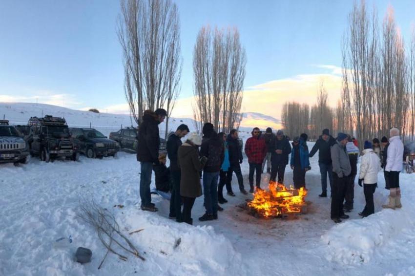Erzurumda karda kışta Off-Road heyecanı yaşandı