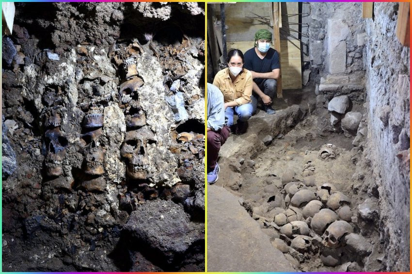 Aztek kafatası kulesinin yeni bölümleri bulundu