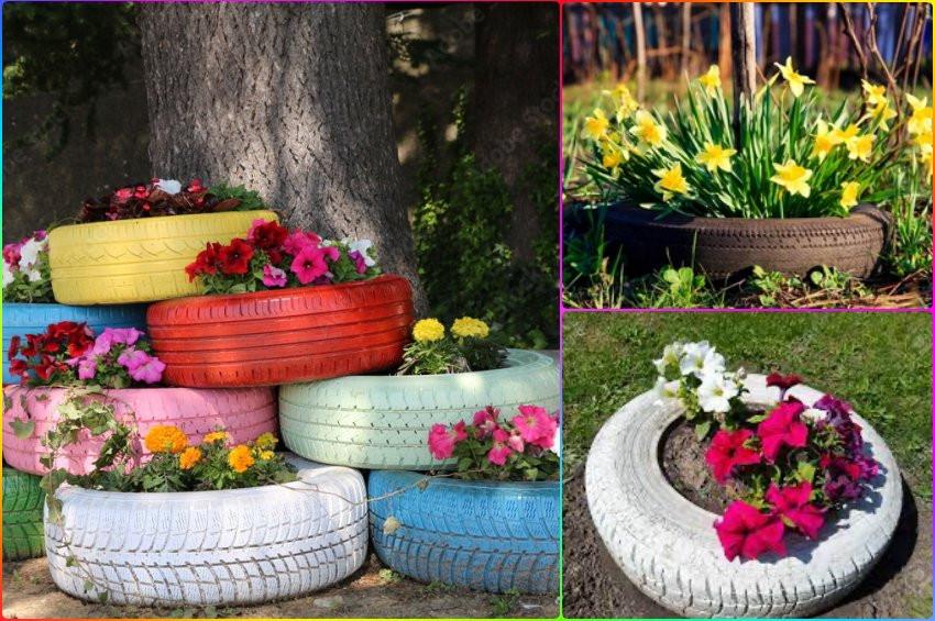 Araba lastiğinden dekoratif çiçek evi yapımı